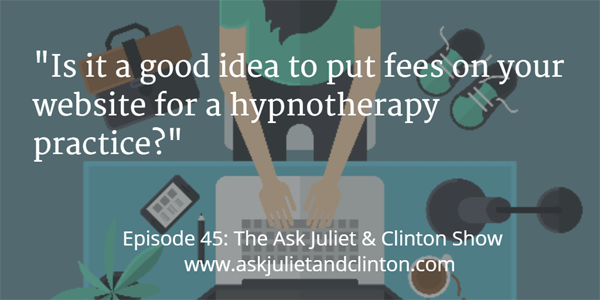 charging fees on my website for a hypnotherapy practice