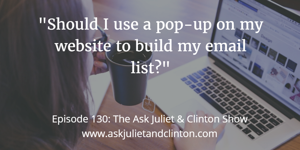 using pop-up on your site to build email list